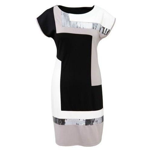 Sukienka czarno-jasnoszaro-kremowy, Bonprix, 32-42