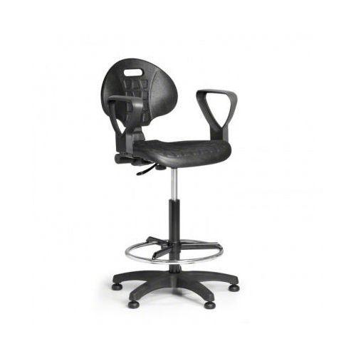 B2b partner Krzesło pur z podłokietnikami, stały kontakt, ślizgacze