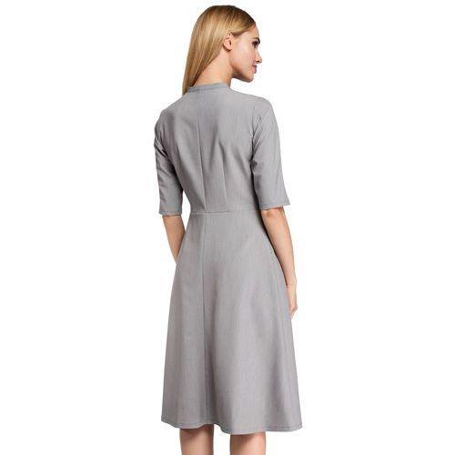 Rozkloszowana sukienka midi z wiązaniem przy dekolcie szara m298 (MOE)