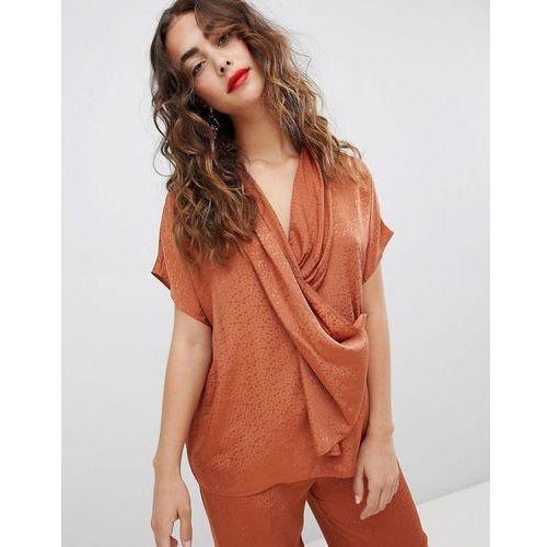 Mango wrap front soft blouse - Brown, kolor brązowy