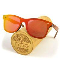 Drewniane okulary przeciwsłoneczne Niwatch Orion Orange Mirror