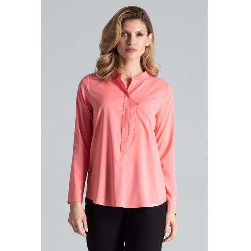 Koralowa bluzka koszulowa w liście ze stójką marki Figl