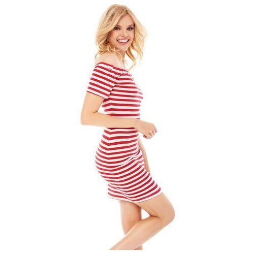 Sukienka Masha w biało-czerwone paski, w 2 rozmiarach