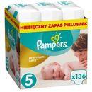 PAMPERS Premium Care Pieluchy 5 Junior 136szt Monthly Box pieluszki Zapas na miesiąc