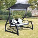 huśtawka ogrodowa z polirattanu, czarna, 167x130x178 cm marki Vidaxl