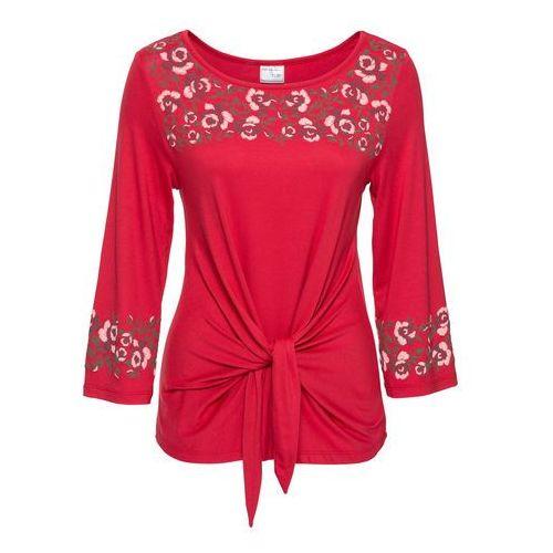 Shirt z kwiatowym haftem bonprix czerwony