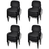 vidaXL Krzesła biurowe tapicerowane tkaniną 16 szt., sztaplowane, czarne