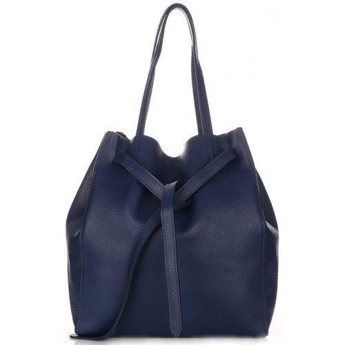 Genuine leather Włoskie torebki skórzane shopperbag z kosmetyczką firmy granat (kolory)
