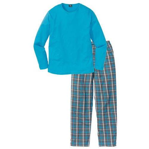 Piżama bonprix turkusowy w kratę, kolor szary
