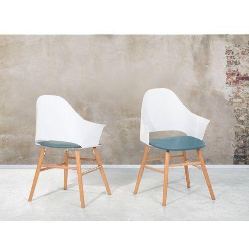 Krzesło Niebiesko Białe Krzesło Do Jadalni Do Salonu Krzesło Kubełkowe Boston Beliani
