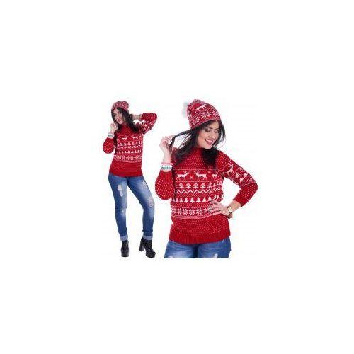 Amstyl Ciepły sweter świąteczny renifer plus czapka 001
