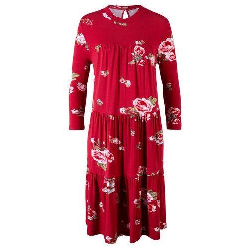 Sukienka z falbanami, z kolekcji Maite Kelly bonprix czerwony chili w kwiaty, kolor czerwony