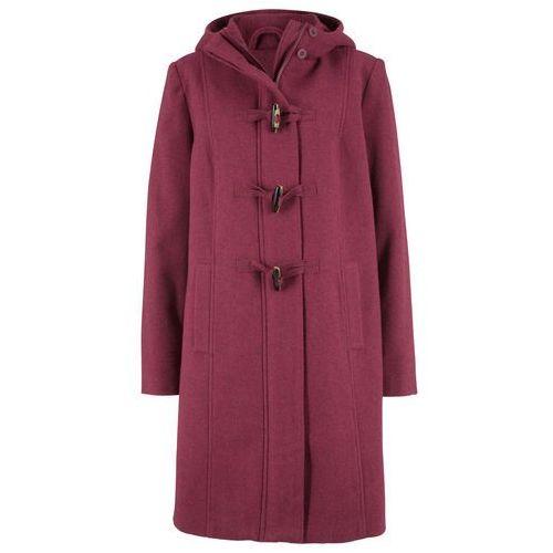 Płaszcz z materiału o wyglądzie wełny, z nadrukiem bonprix kawa lodowa-beżowo-szaro-czarny z nadrukiem, kolor fioletowy
