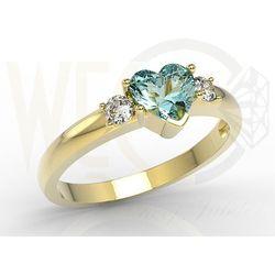 Pierścionek z żółtego złota z niebieskim topazem w kształcie serca i diamentami JP-90Z