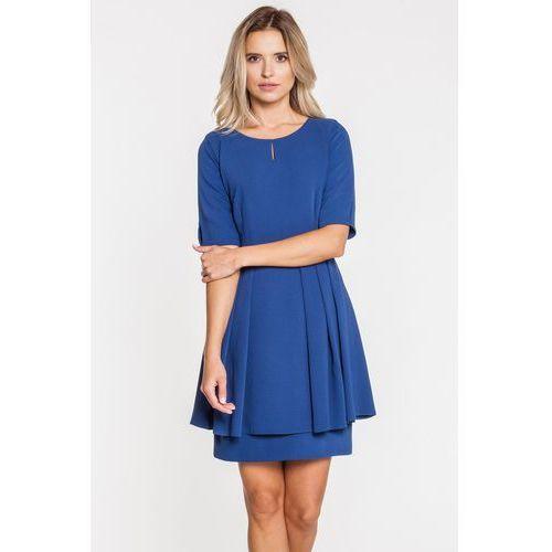 56a69860f9 Granatowa sukienka odcięta w talii (De Facto) - sklep SkladBlawatny.pl