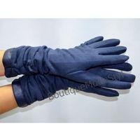 Rękawiczki damskie długie zamszowe, granatowe