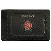 Skórzane Etui Karty Kredytowe Zbliżeniowe Zabezpieczające RFID - Czarny połysk