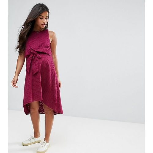 nursing knot front dress in broderie - red, Asos maternity