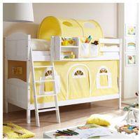 TICAA Łóżko piętrowe Erni Country Dworek białe drewno sosnowe kolor żółto-biały (4250393871831)