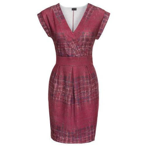 Sukienka z dżerseju z nadrukiem bonprix czerwonobrązowy wzorzysty, w 8 rozmiarach