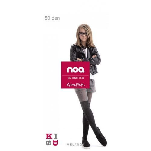 159684df38cb62 Rajstopy Knittex Noq Graffiti 50 den ROZMIAR: 140-146, KOLOR: czarny/