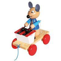Drewniana zabawka z ksylofonem Pociągnij za mysz, 1_698275