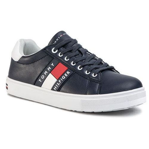 Sneakersy TOMMY HILFIGER - Low Cut Lace-Up Sneaker T3B4-30718-0900 D Blue/White X007, kolor niebieski