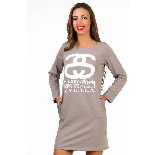 Sukienka ALENA BEIGE, kolor beżowy