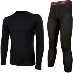 Brubeck Bielizna termoaktywna active wool komplet koszulka+spodnie czarny m (ls12820+le11710)