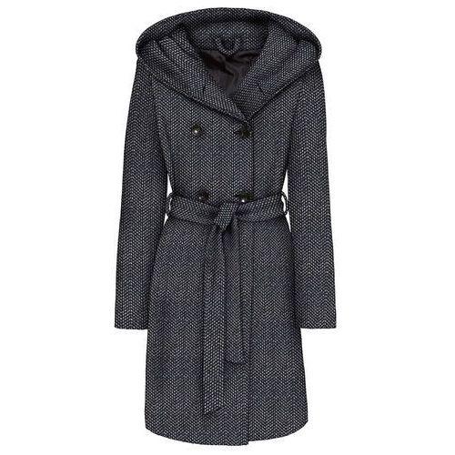 Krótki płaszcz z domieszką wełny bonprix czarno-biel wełny, wełna