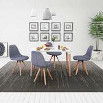 vidaXL Zestaw mebli do jadalni 5 elementów biały stół i pokryte materiałem jasno szare krzesła