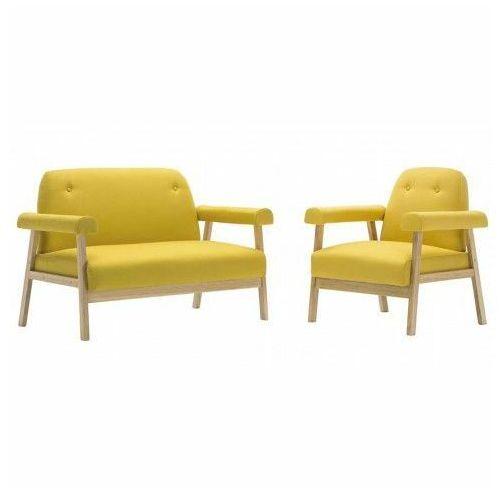Zestaw wypoczynkowy w stylu vintage Eureka 4X - żółty, vidaxl_275216
