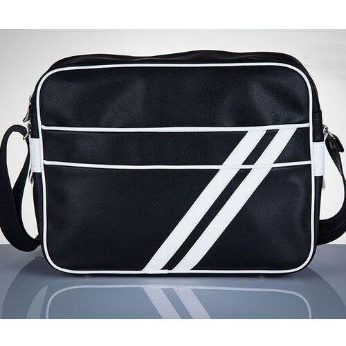 Stylowa torba męska na ramię messenger by solier ms02 czarno - biała marki Solier