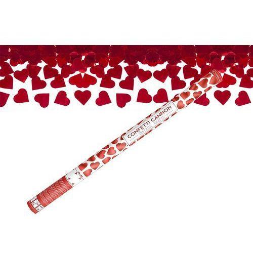 Tuba strzelająca, czerwone serca, 80 cm, 1 szt.