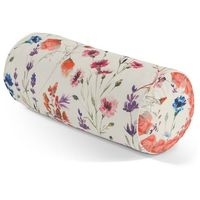 Dekoria  wałek z zakładkami, kolorowe kwiaty na kremowym tle, Ø 20 x 50 cm, flowers