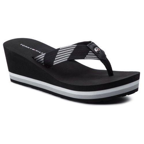 Japonki TOMMY HILFIGER - Glitter Webbing Mid Beach Sandal FW0FW04244 Black 990