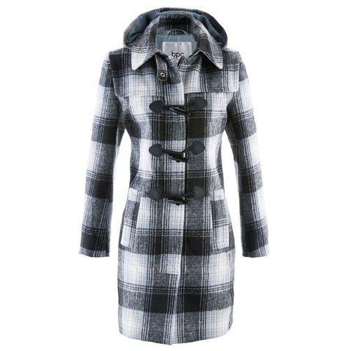 Bonprix Krótki płaszcz z kapturem srebrnoszary w kratę