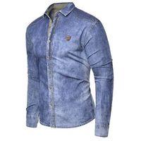 038a4d311b4cd1 Koszula męska jeansowa długi rękaw rl15 - niebieska