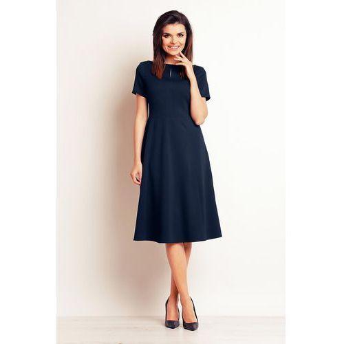 4225da099c Infinite you Granatowa wizytowa sukienka midi z krótkim rękawem