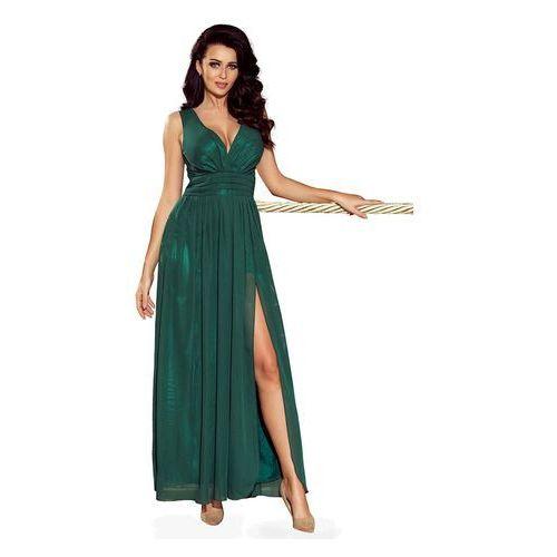 Zielona sukienka wieczorowa maxi z dekoltem v marki Numoco