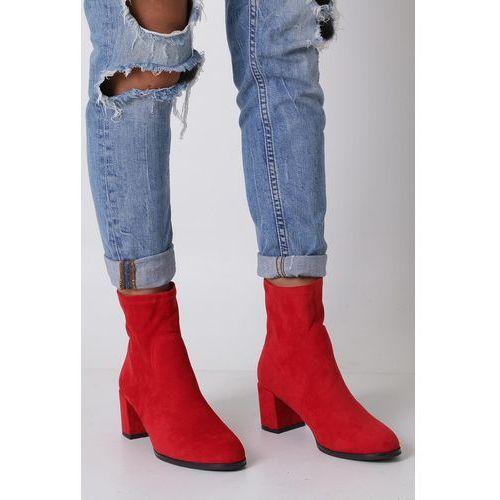 Czerwone botki wiosenne na słupku Sergio Leone BT150, kolor czerwony