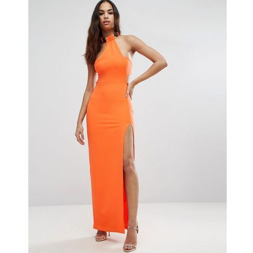 Asos gold bar halter maxi dress - orange