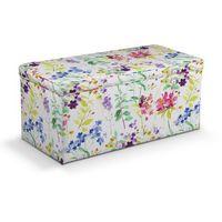 skrzynia tapicerowana, kolorowe kwiaty na białym tle, 90x40x40 cm, monet marki Dekoria
