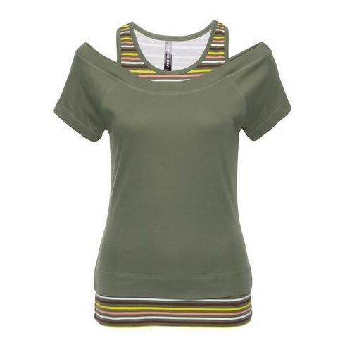 51dead8668 T-shirt 2 w 1 bonprix oliwkowy w paski