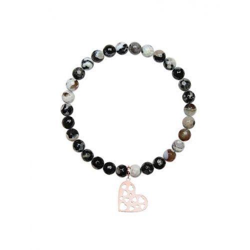 Bransoletka z czarno białych fasetowanych kamieni agatu 6 mm l marki Caviallo