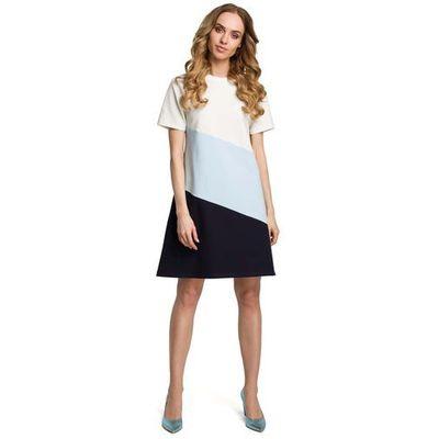 0520ff8def Moe Biało błękitna szara dziewczęca trapezowa sukienka z przodem w pasy  MOLLY