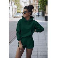 komplet dresowy bluza kangurka + szorty - zielona