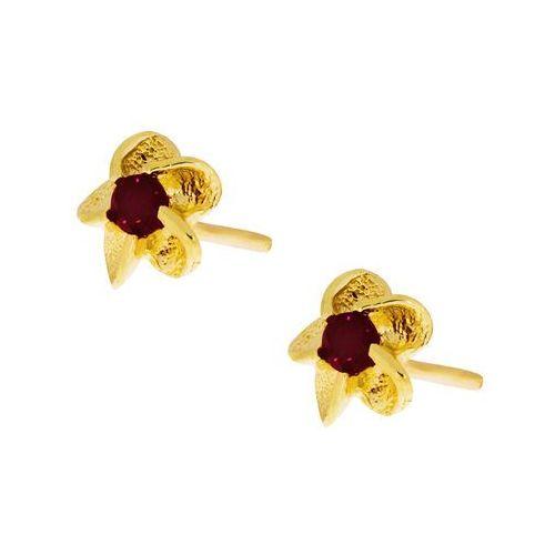 Kolczyki złote kwiatki z rubinem - złoto próby 0.585