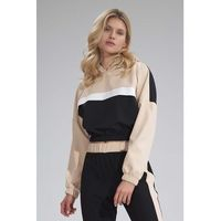 Dwukolorowa krótka bluza z kapturem - czarno-beżowa