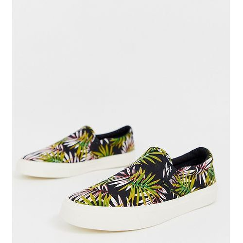 5385425106e33 slip on trainers in tropical floral print - black marki Asos design